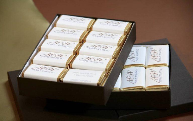 Box of brand chocolate bars