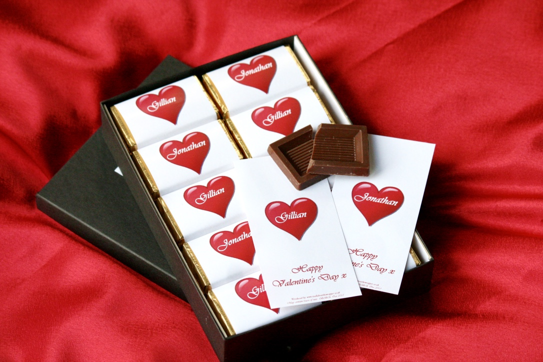 Personalised Valentine's Day chocolates in a customised wrapper