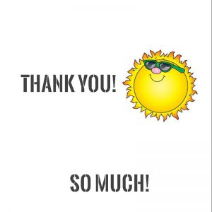 Smiley sun thank you chocolate wrapper